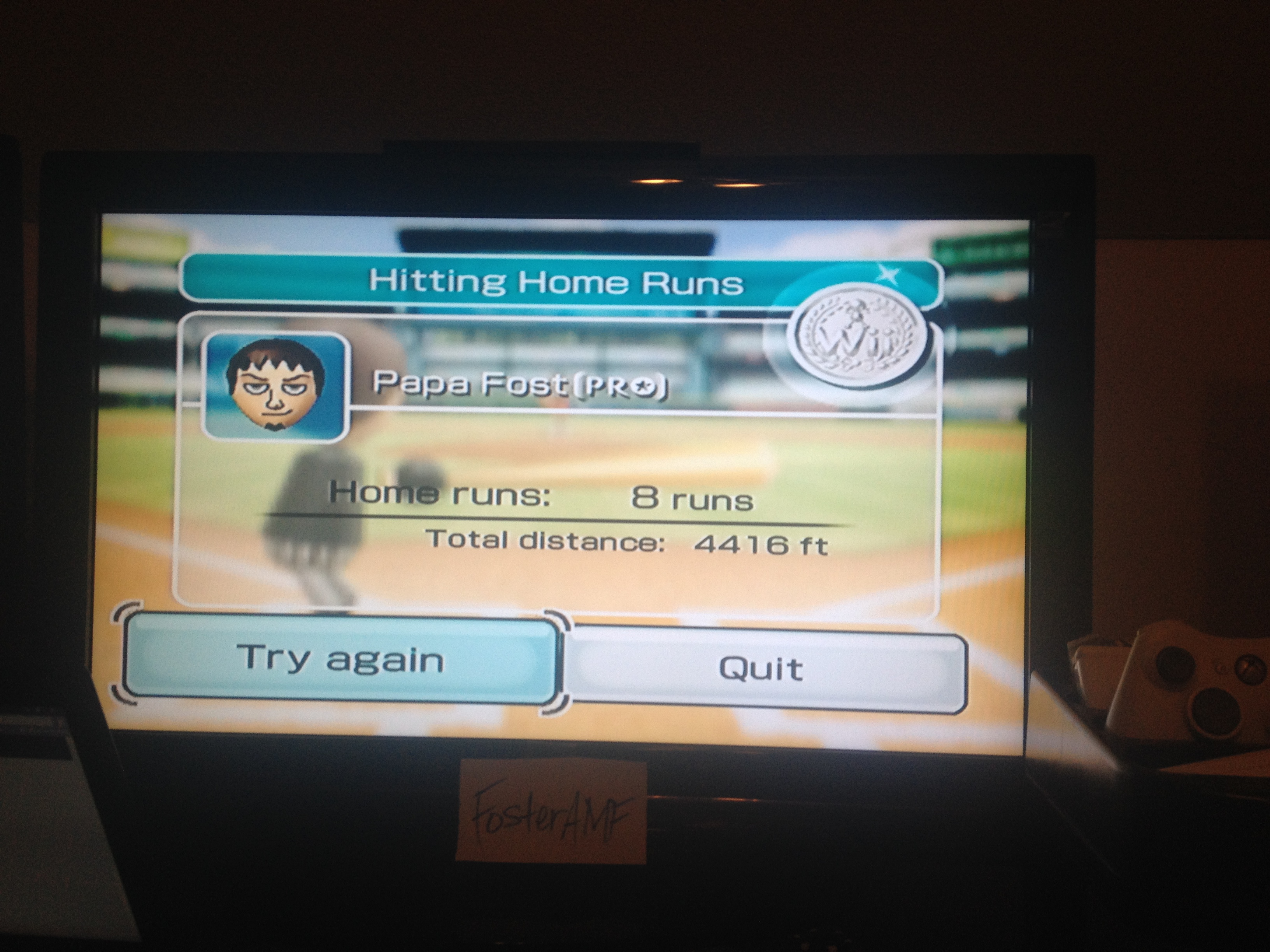 FosterAMF: Wii Sports: Baseball [Home Runs: Total Feet] (Wii) 4,416 points on 2014-05-13 00:08:54