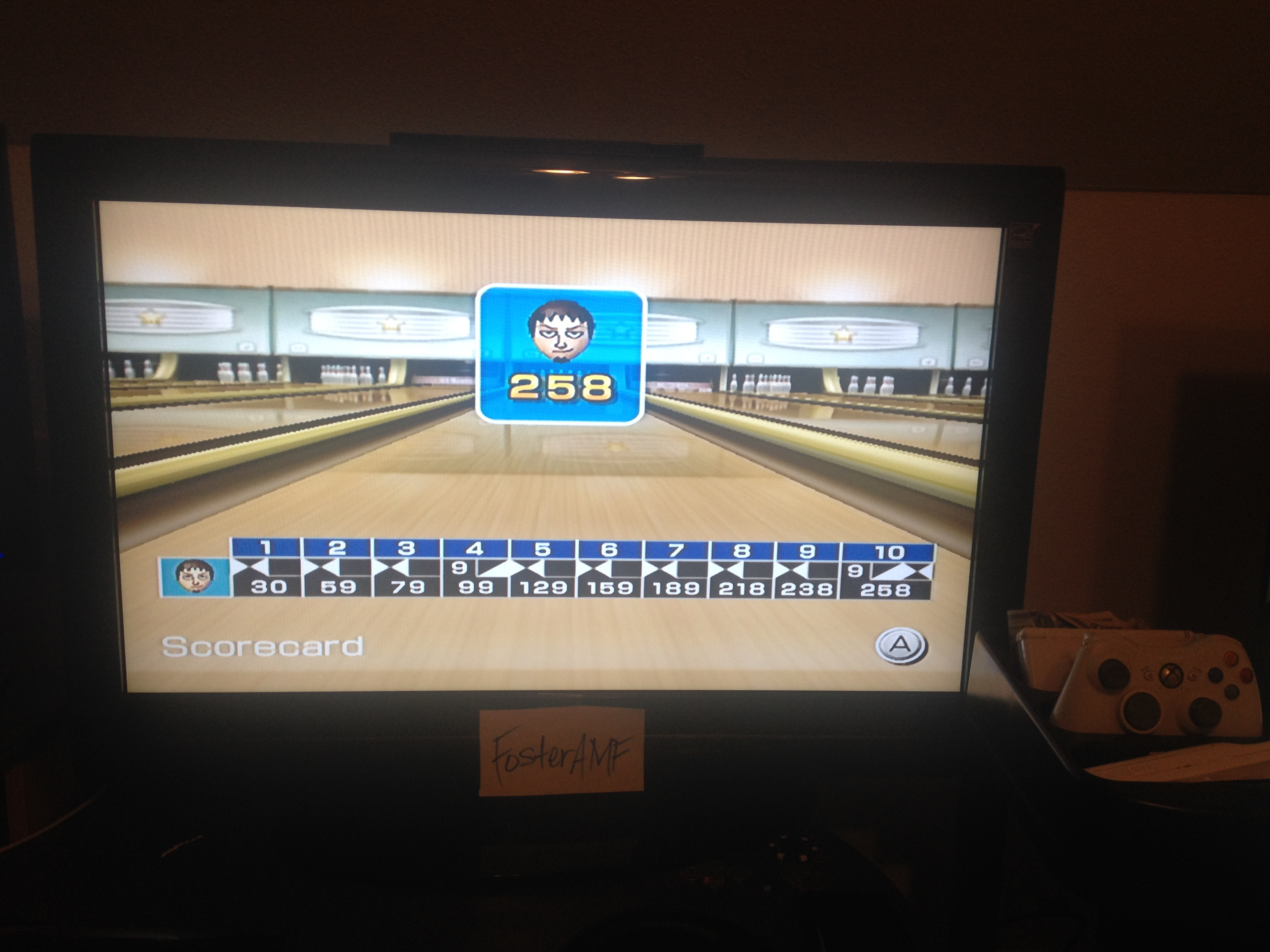 FosterAMF: Wii Sports: Bowling [Game Score] (Wii) 258 points on 2014-05-13 00:37:10