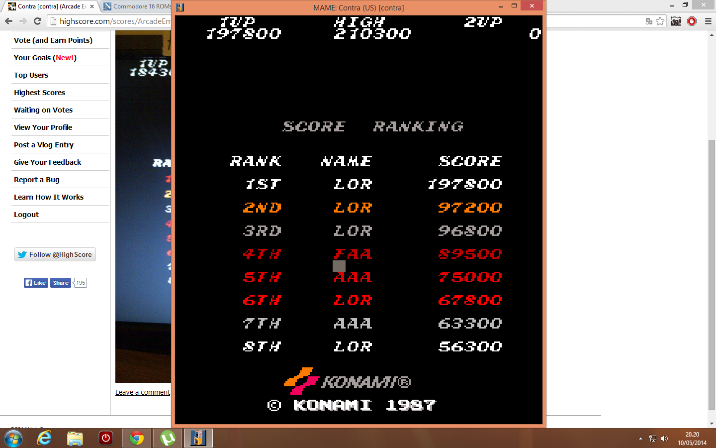 Contra [contra] 197,800 points