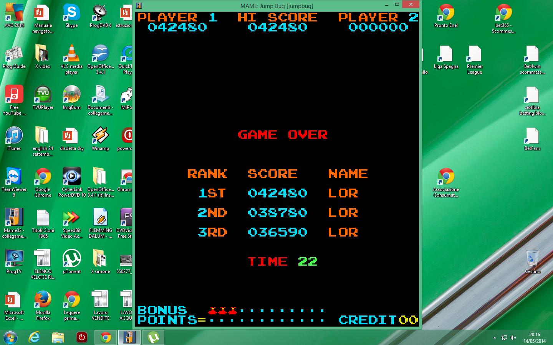 lenny2571: Jump Bug (Arcade Emulated / M.A.M.E.) 42,480 points on 2014-05-14 13:19:33