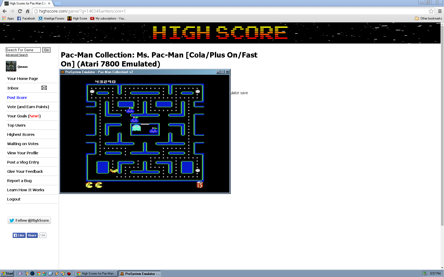 Qwaun: Pac-Man Collection: Ms. Pac-Man [Cola/Plus On/Fast On] (Atari 7800 Emulated) 43,290 points on 2014-05-14 22:36:24