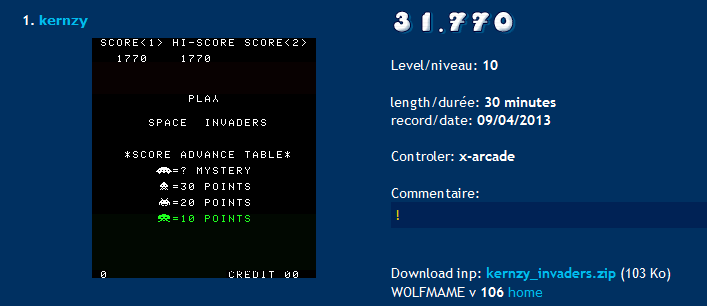 Space Invaders 31,770 points