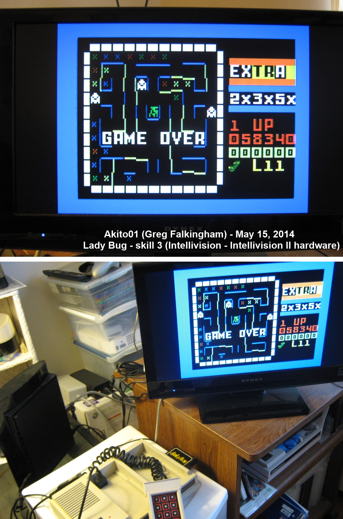 Akito01: Lady Bug: Skill 3 (Intellivision) 58,340 points on 2014-05-15 16:12:02