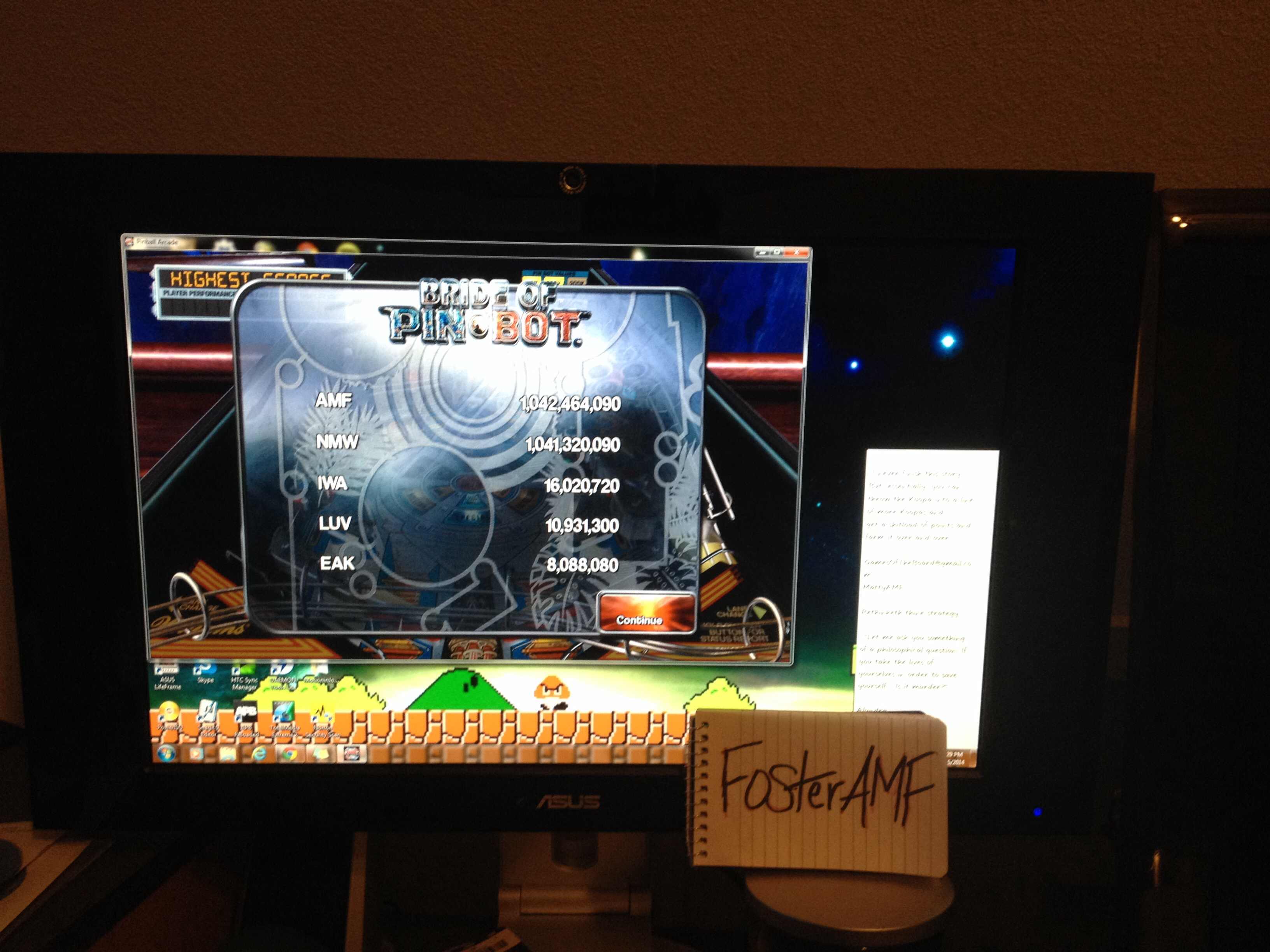 FosterAMF: Pinball Arcade: The Machine: Bride of Pin*Bot (PC) 1,042,464,090 points on 2014-05-15 23:27:08