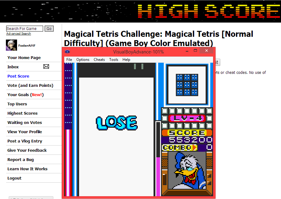 FosterAMF: Magical Tetris Challenge: Magical Tetris [Normal Difficulty] (Game Boy Color Emulated) 553,200 points on 2014-05-16 16:17:54