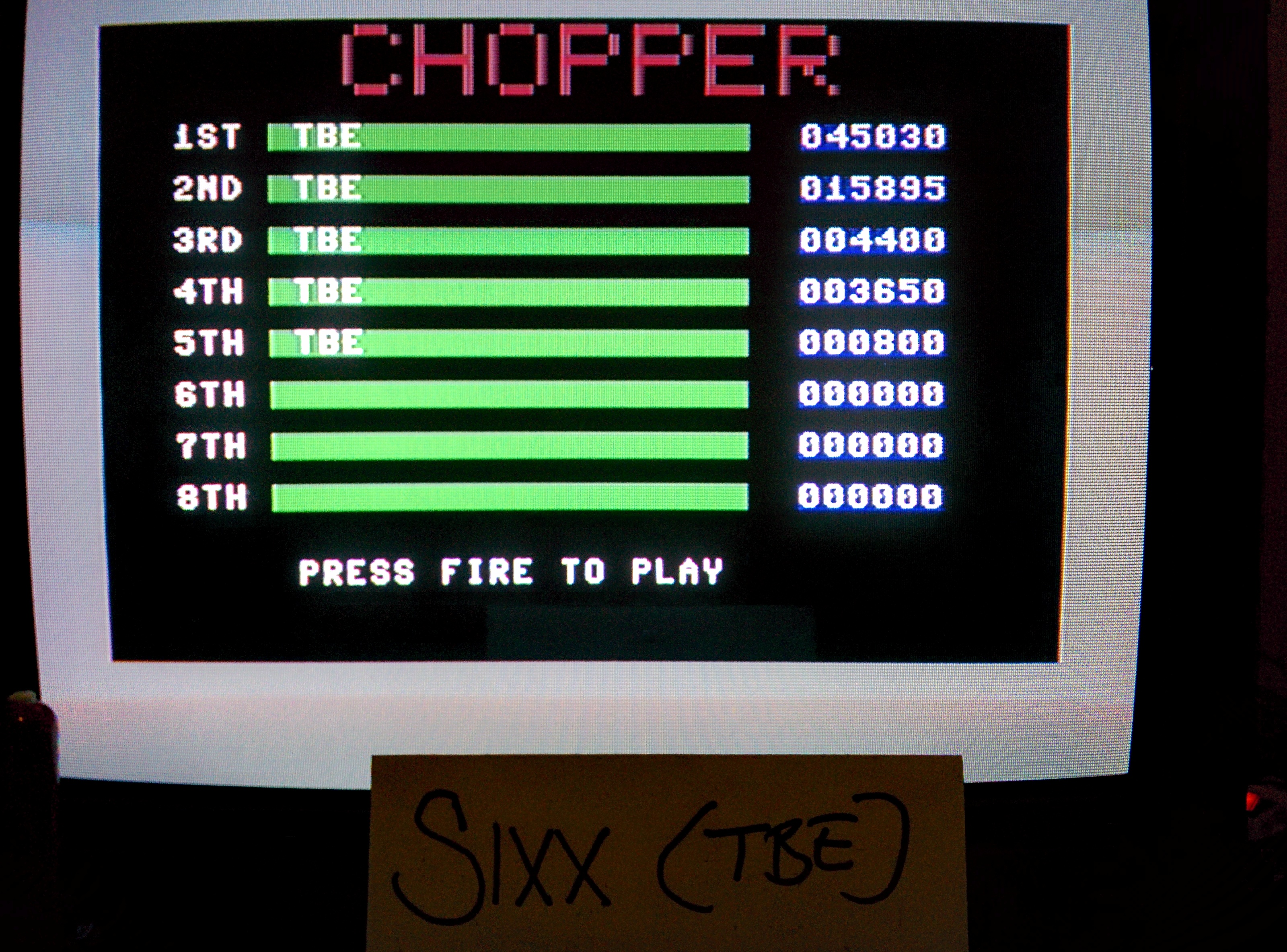 Sixx: Chopper [Creative Sparks] (Commodore 64) 45,030 points on 2014-05-16 19:32:40