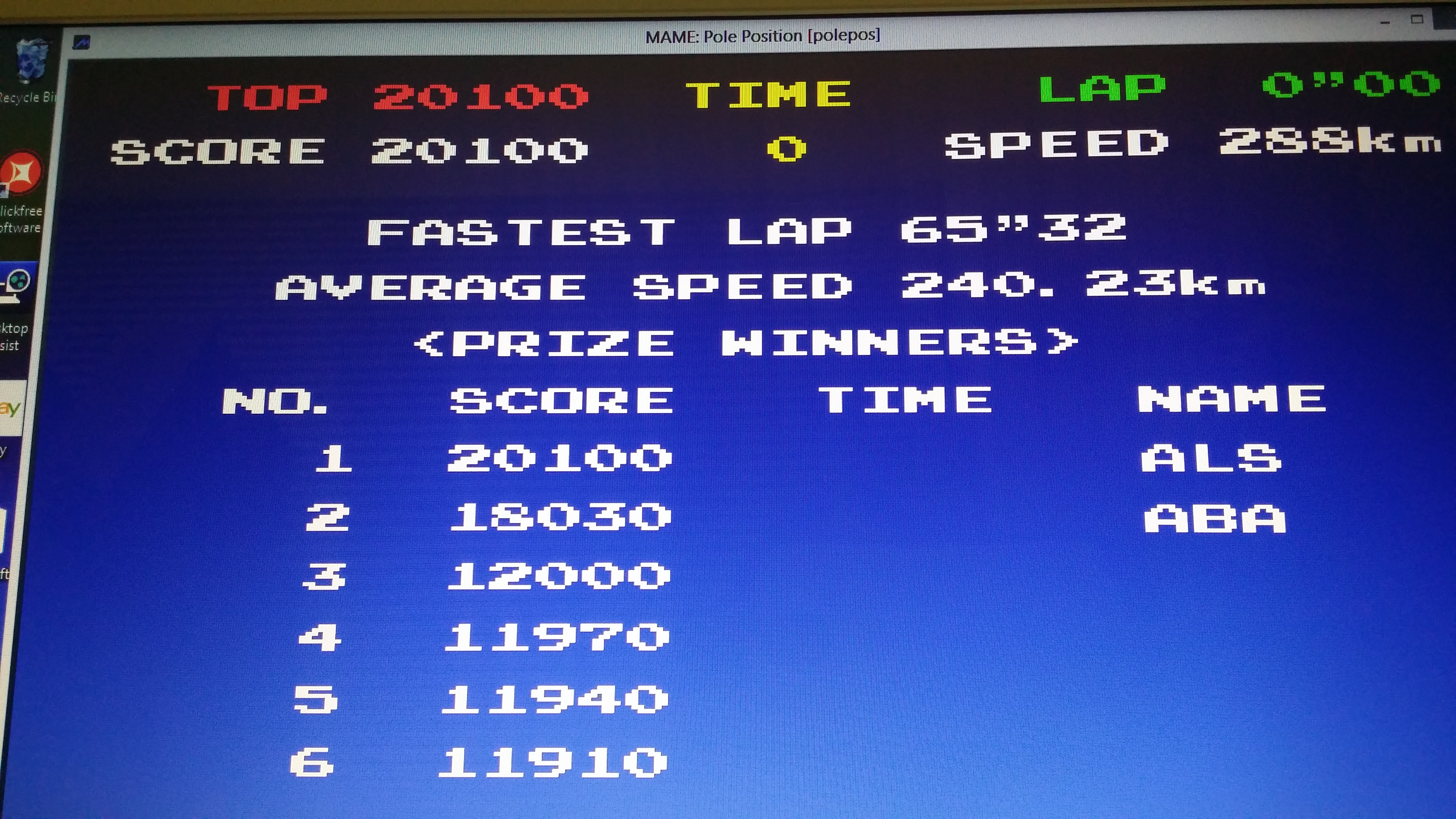 muscleandfitness: Pole Position (Arcade Emulated / M.A.M.E.) 20,100 points on 2014-05-17 06:05:22