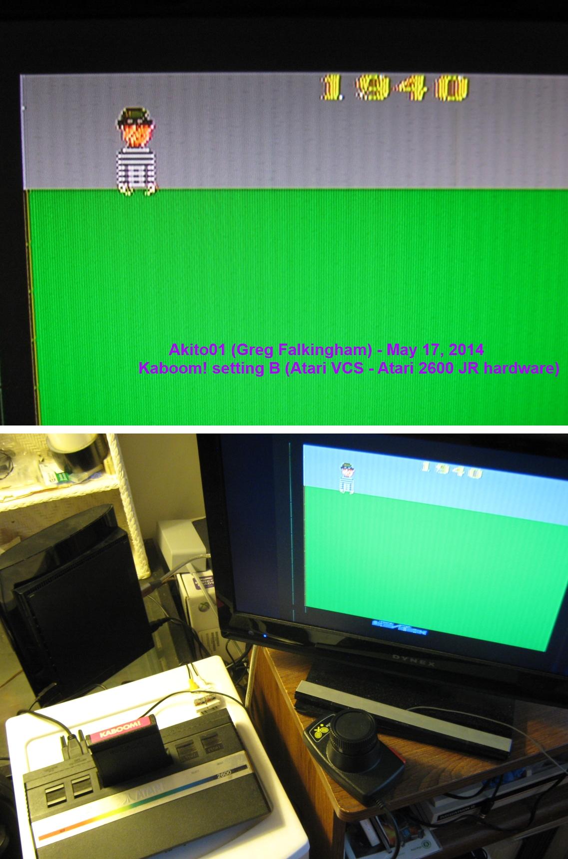 Akito01: Kaboom! (Atari 2600 Novice/B) 1,940 points on 2014-05-17 18:33:01