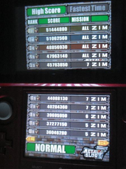 Zimer: Metal Slug 7 (Nintendo DS) 51,444,880 points on 2014-05-17 22:22:00