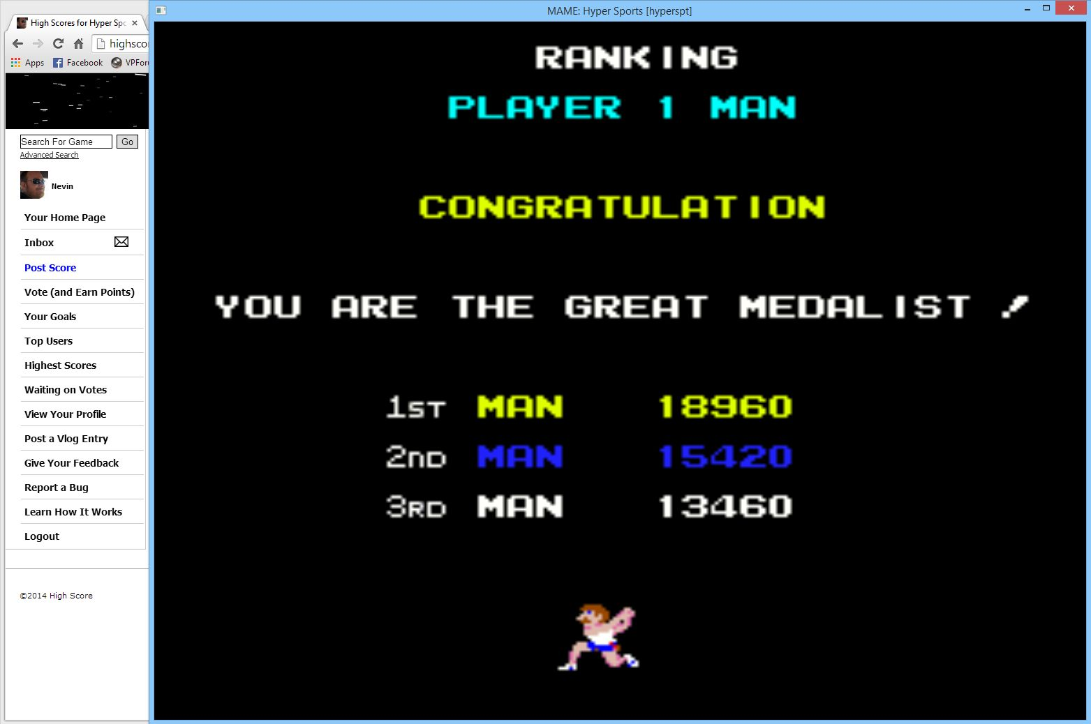 Nevin: Hyper Sports [hyperspt] (Arcade Emulated / M.A.M.E.) 18,960 points on 2014-05-18 10:06:45