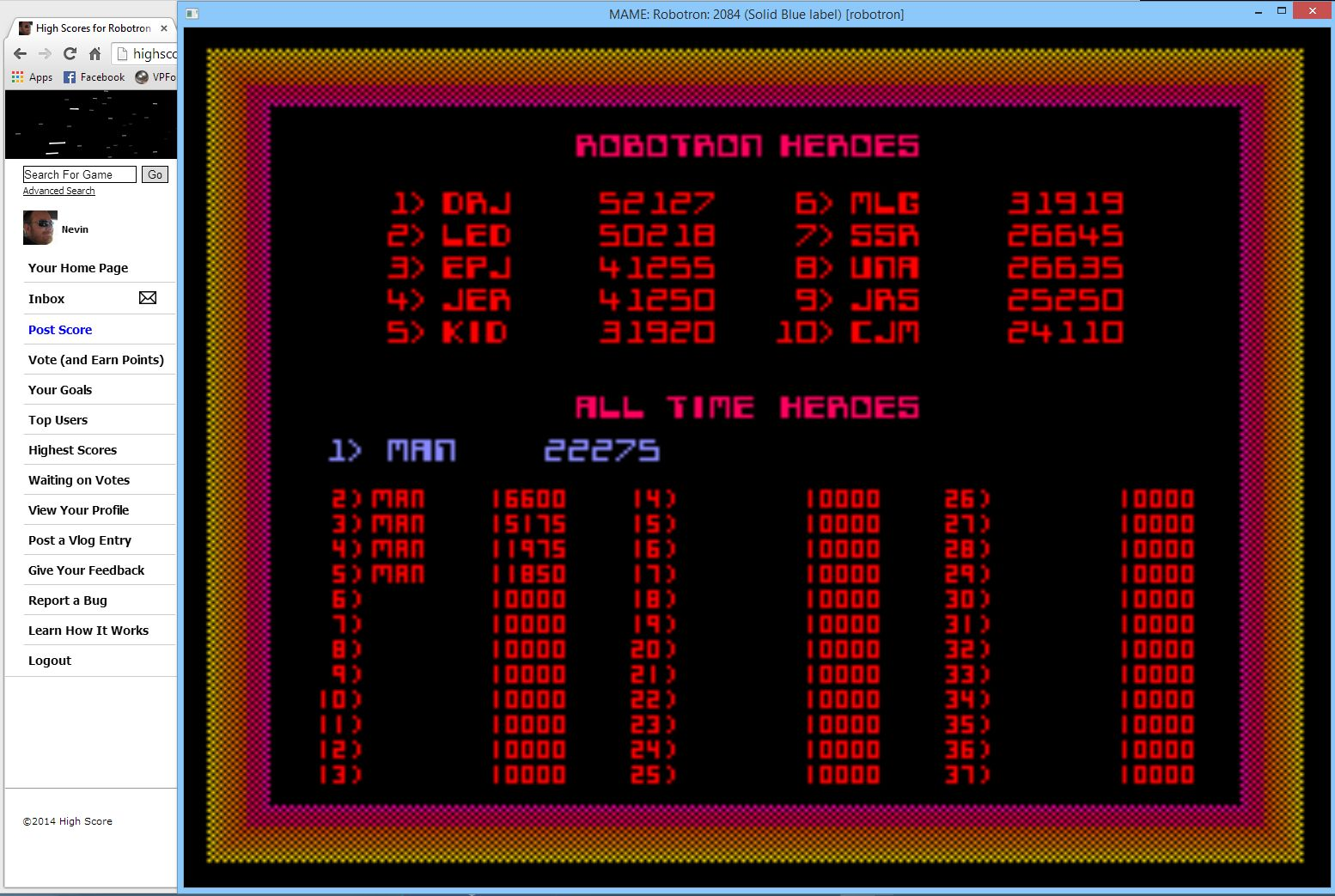 Nevin: Robotron 2084 (Arcade Emulated / M.A.M.E.) 22,275 points on 2014-05-18 10:22:48
