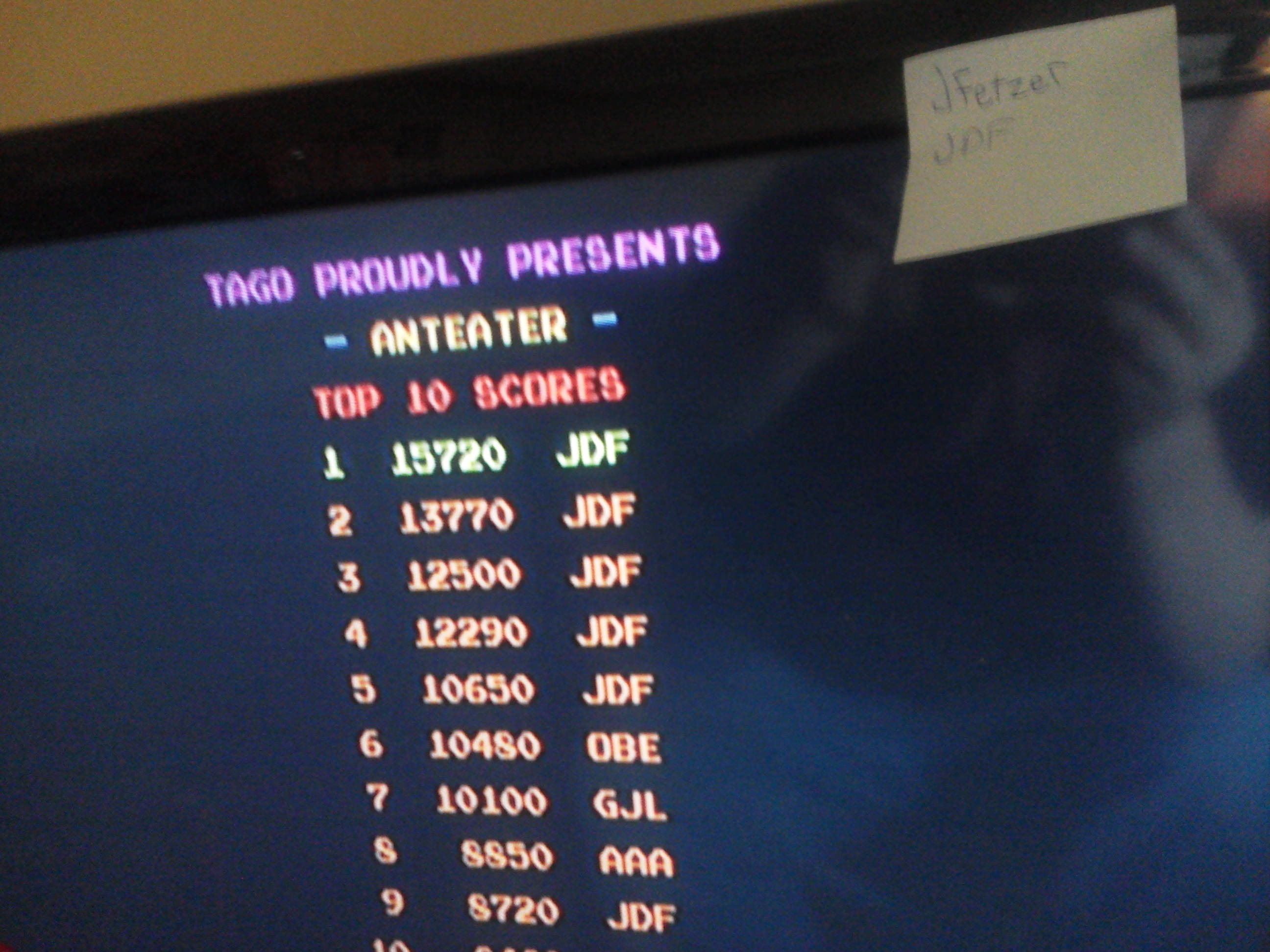 jfetzer: Anteater (Arcade Emulated / M.A.M.E.) 15,720 points on 2014-05-18 18:34:32