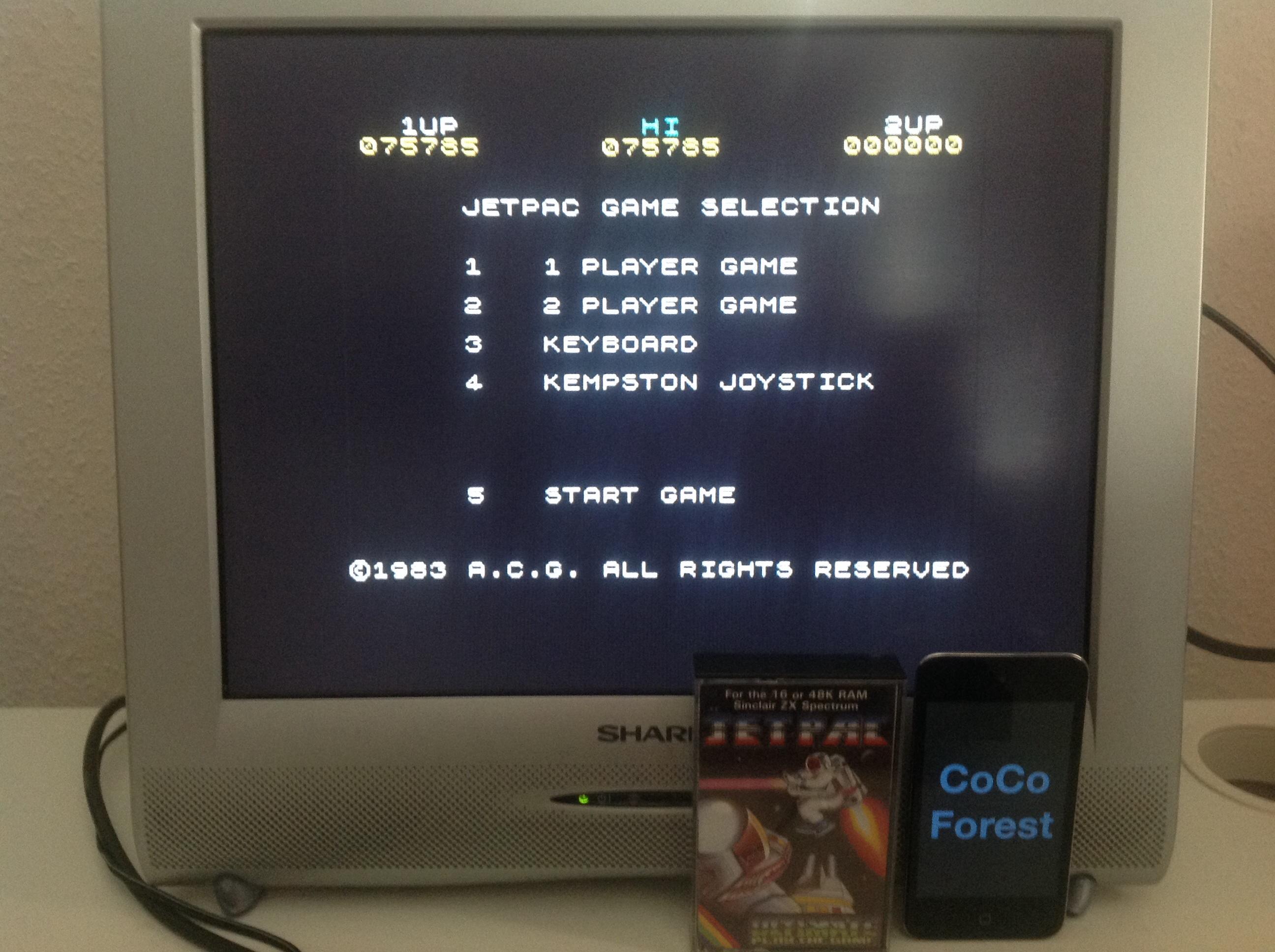 CoCoForest: Jetpac (ZX Spectrum) 75,785 points on 2014-05-19 11:39:30