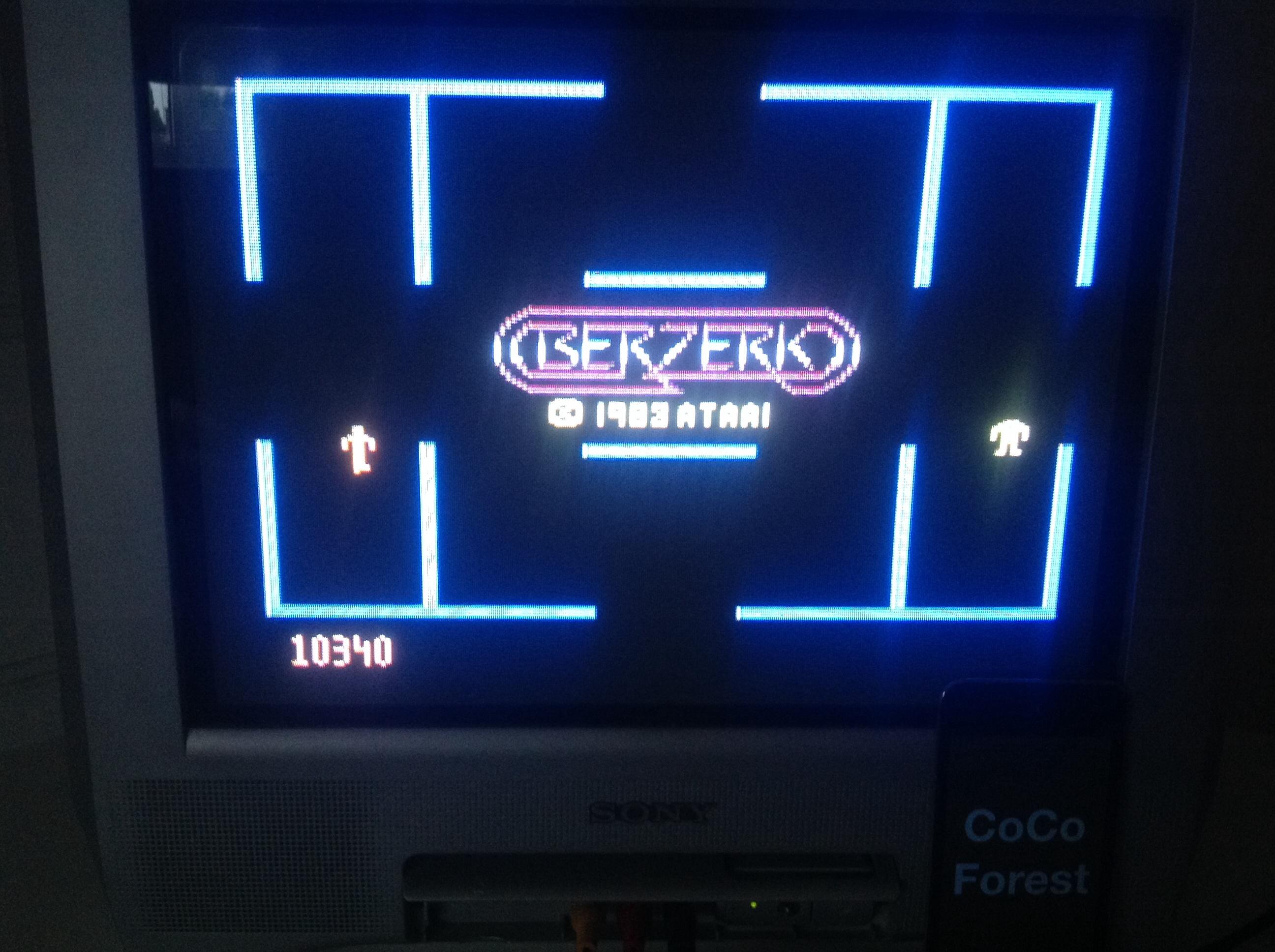 CoCoForest: Berzerk: Game 1 (Atari 5200) 10,340 points on 2014-05-19 14:29:45