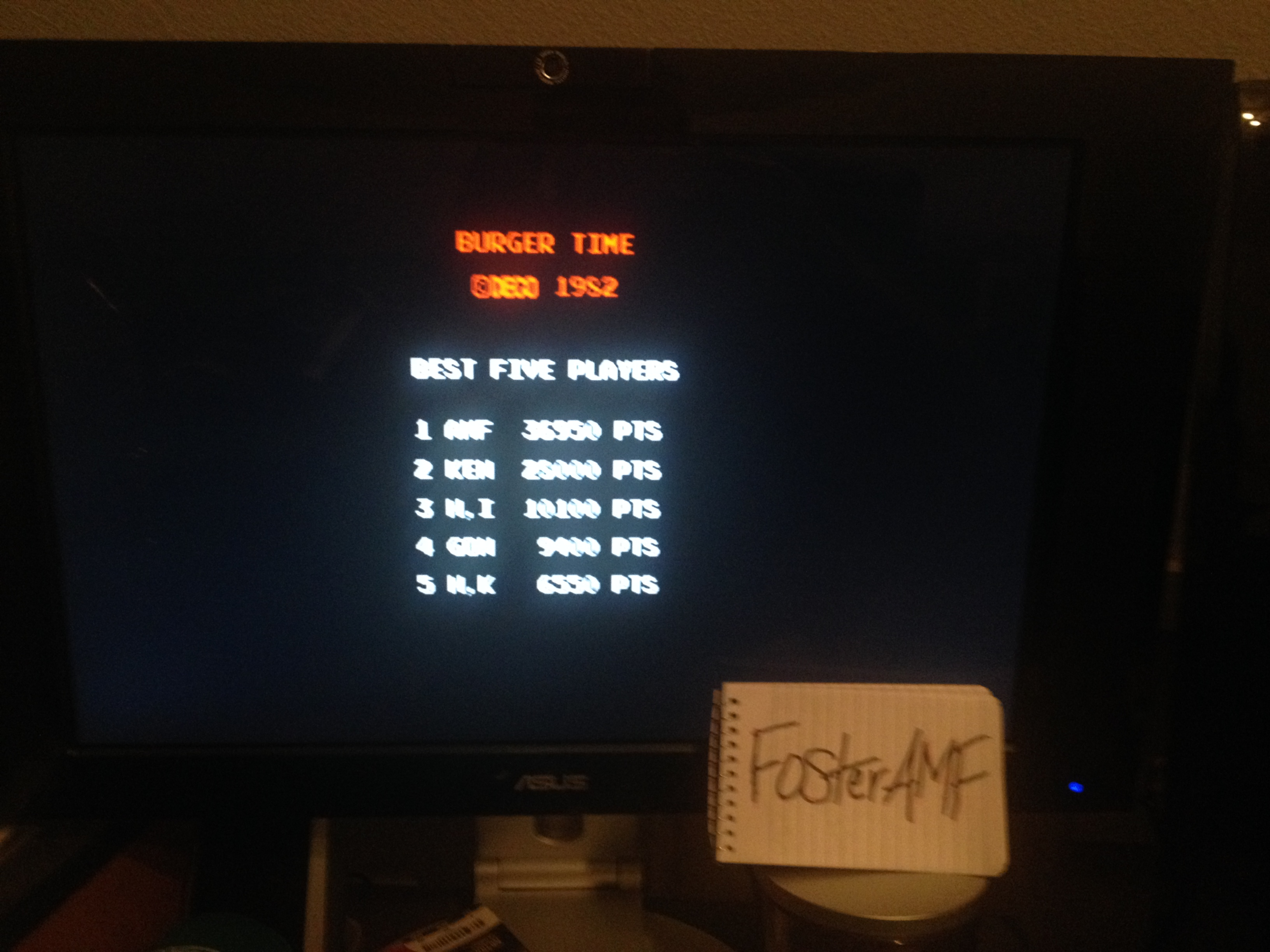 FosterAMF: BurgerTime (Arcade Emulated / M.A.M.E.) 36,950 points on 2014-05-20 03:02:33