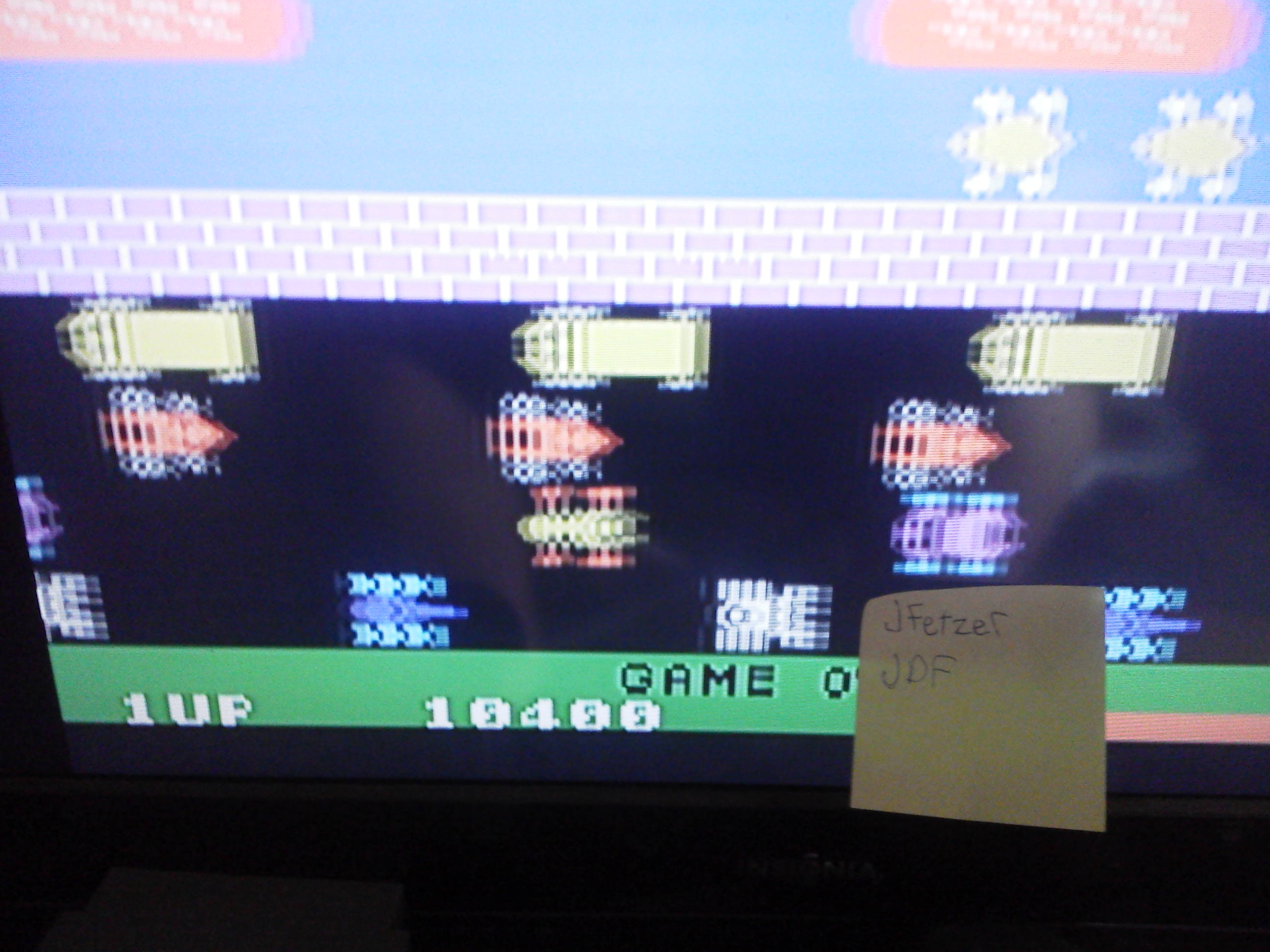 jfetzer: Frogger (Colecovision Emulated) 10,400 points on 2014-05-21 07:16:17