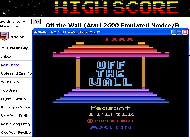 arenafoot: Off the Wall (Atari 2600 Emulated Novice/B Mode) 1,868 points on 2014-05-21 13:51:36