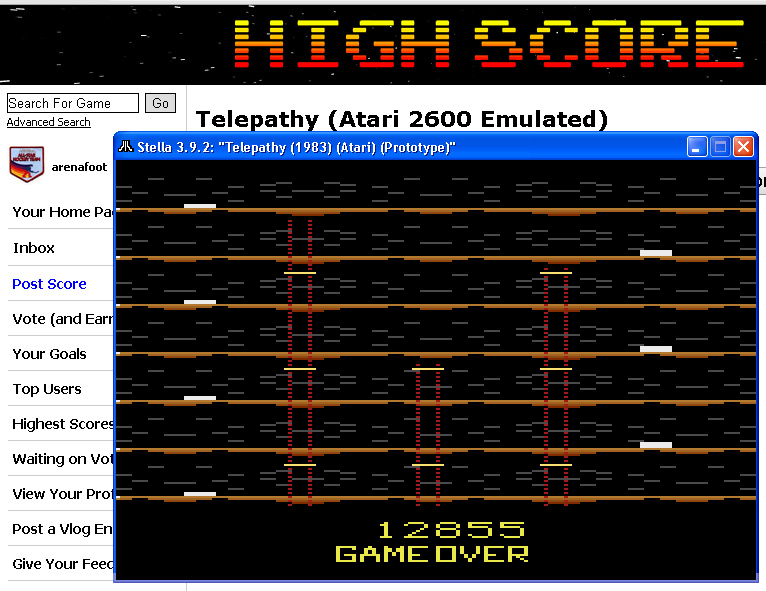 arenafoot: Telepathy (Atari 2600 Emulated) 12,855 points on 2014-05-22 00:15:20