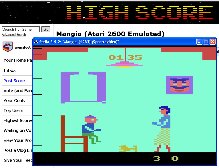 arenafoot: Mangia (Atari 2600 Emulated) 135 points on 2014-05-22 00:21:29