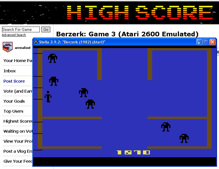 arenafoot: Berzerk: Game 3 (Atari 2600 Emulated) 1,870 points on 2014-05-22 00:28:50