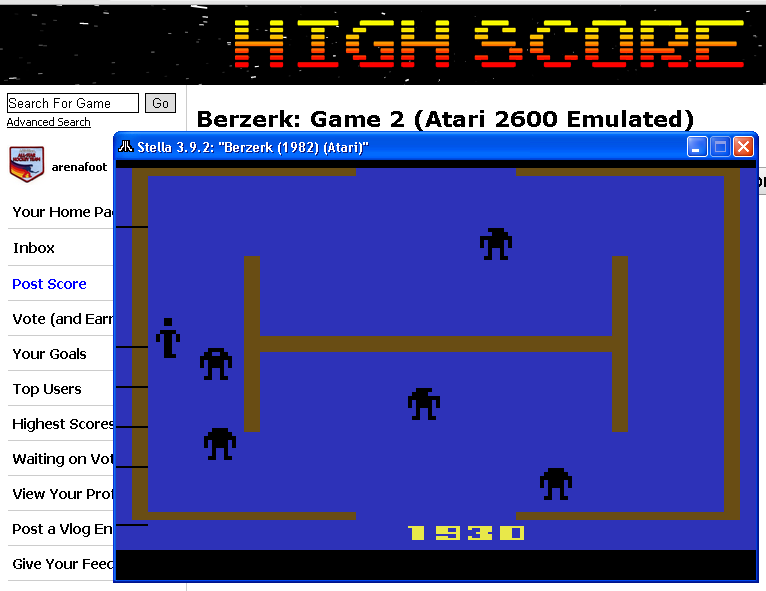 arenafoot: Berzerk: Game 2 (Atari 2600 Emulated) 1,930 points on 2014-05-22 00:30:32