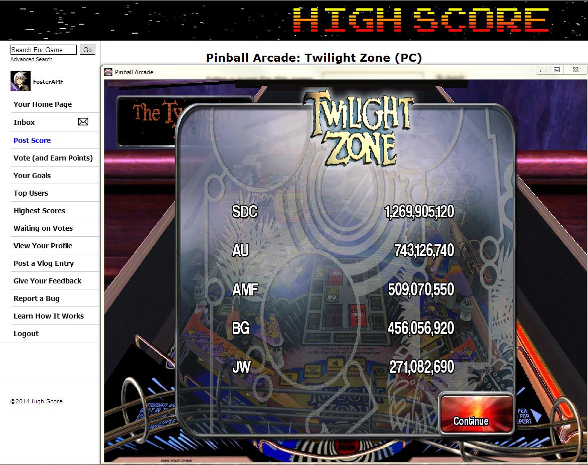 FosterAMF: Pinball Arcade: Twilight Zone (PC) 509,070,550 points on 2014-05-22 01:29:36