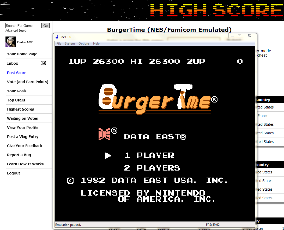 FosterAMF: BurgerTime (NES/Famicom Emulated) 26,300 points on 2014-05-22 02:16:28