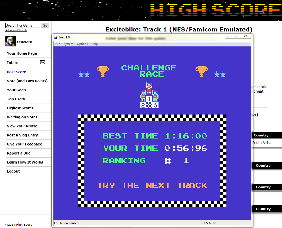 FosterAMF: Excitebike: Track 1 (NES/Famicom Emulated) 0:00:56.96 points on 2014-05-22 17:21:33
