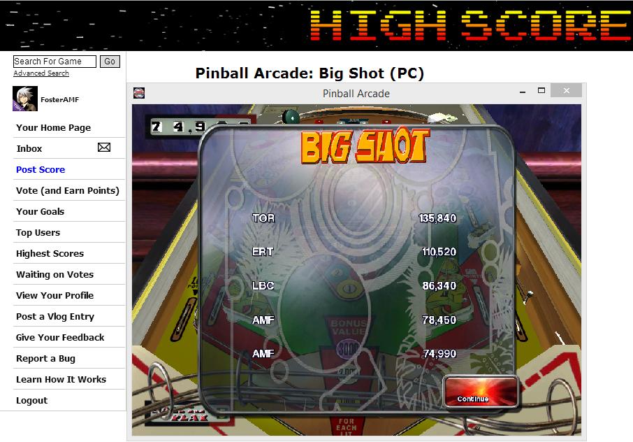 FosterAMF: Pinball Arcade: Big Shot (PC) 78,450 points on 2014-05-23 23:03:26