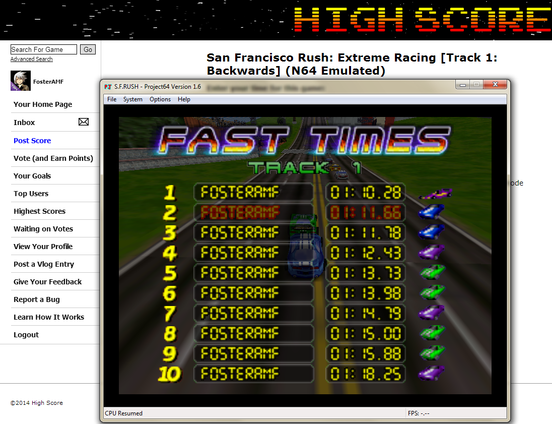 FosterAMF: San Francisco Rush: Extreme Racing [Track 1: Backwards] (N64 Emulated) 0:01:11.66 points on 2014-05-24 00:33:28