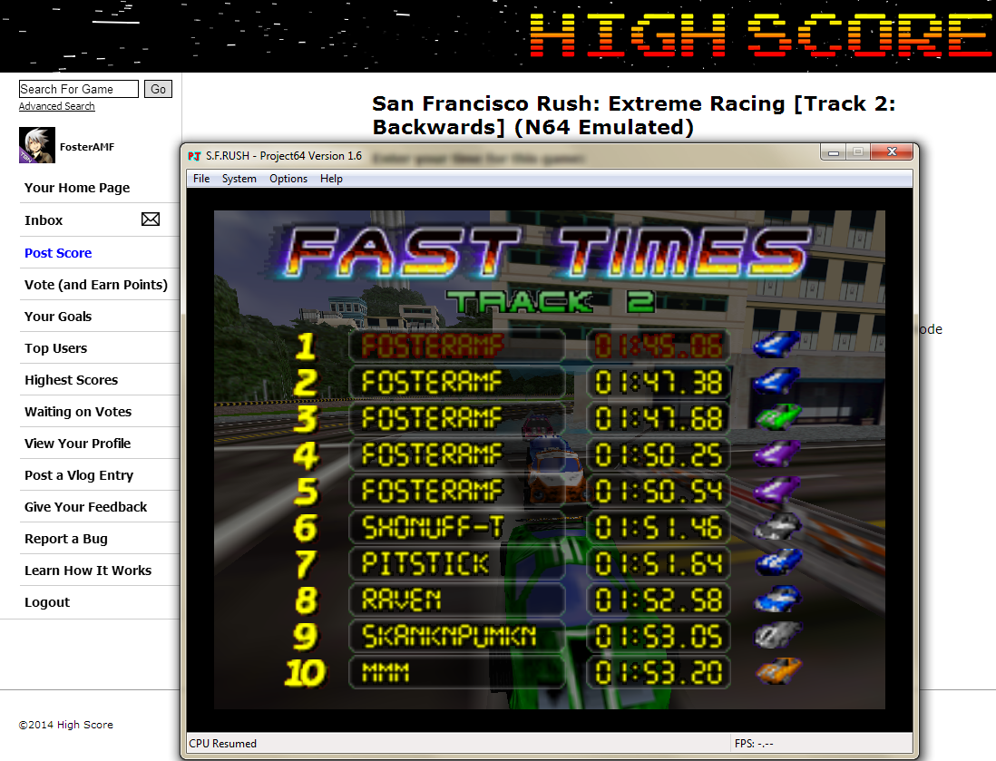 FosterAMF: San Francisco Rush: Extreme Racing [Track 2: Backwards] (N64 Emulated) 0:01:45.06 points on 2014-05-24 00:56:17