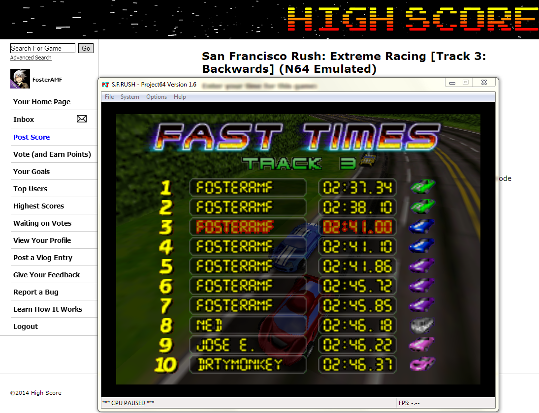 FosterAMF: San Francisco Rush: Extreme Racing [Track 3: Backwards] (N64 Emulated) 0:02:41 points on 2014-05-24 01:07:49