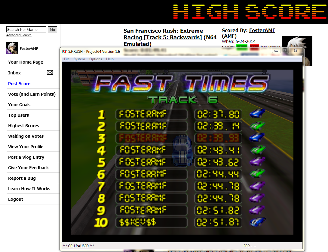 FosterAMF: San Francisco Rush: Extreme Racing [Track 6: Backwards] (N64 Emulated) 0:02:39.93 points on 2014-05-24 01:41:08