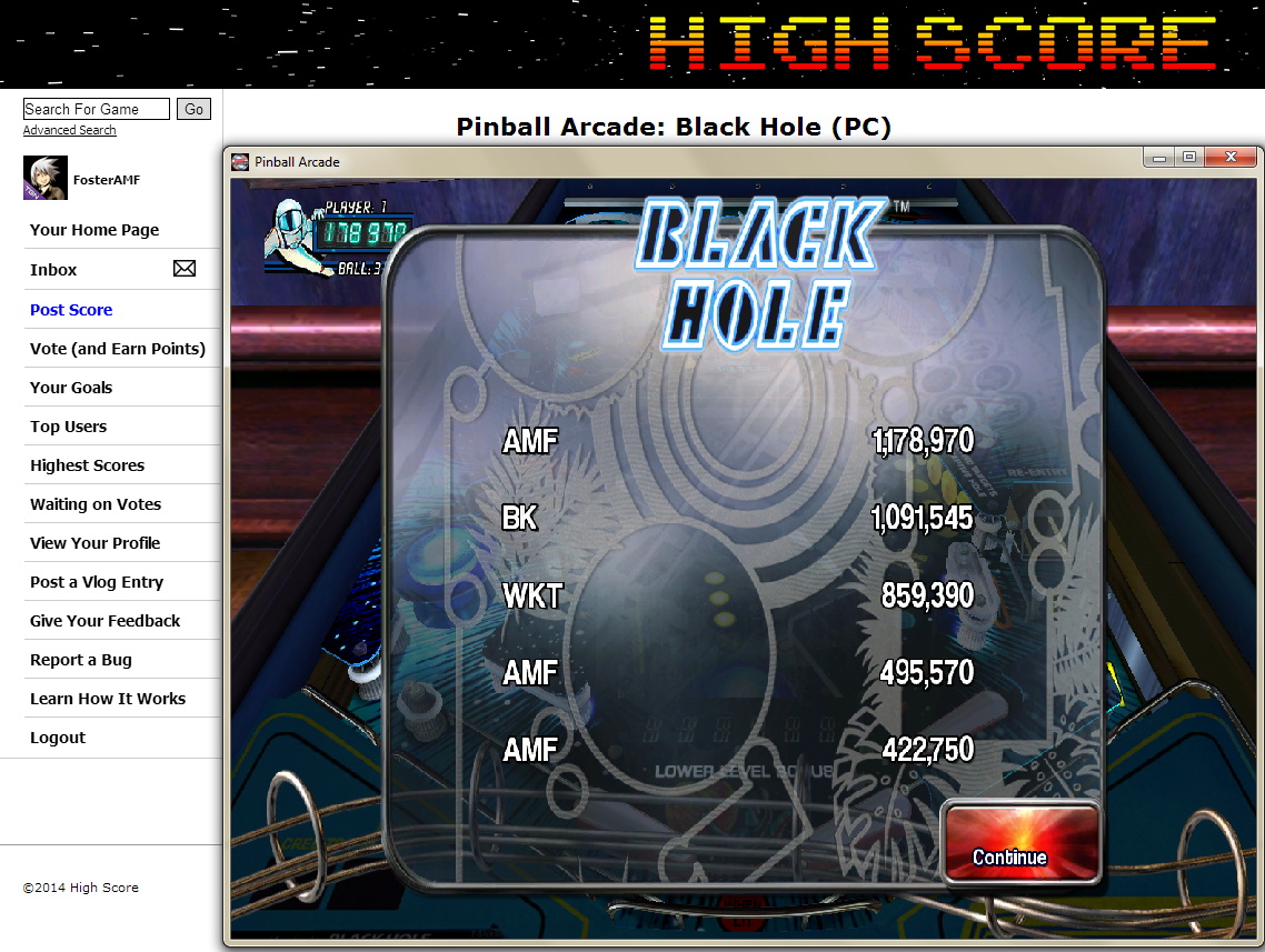 FosterAMF: Pinball Arcade: Black Hole (PC) 1,178,970 points on 2014-05-24 02:28:59