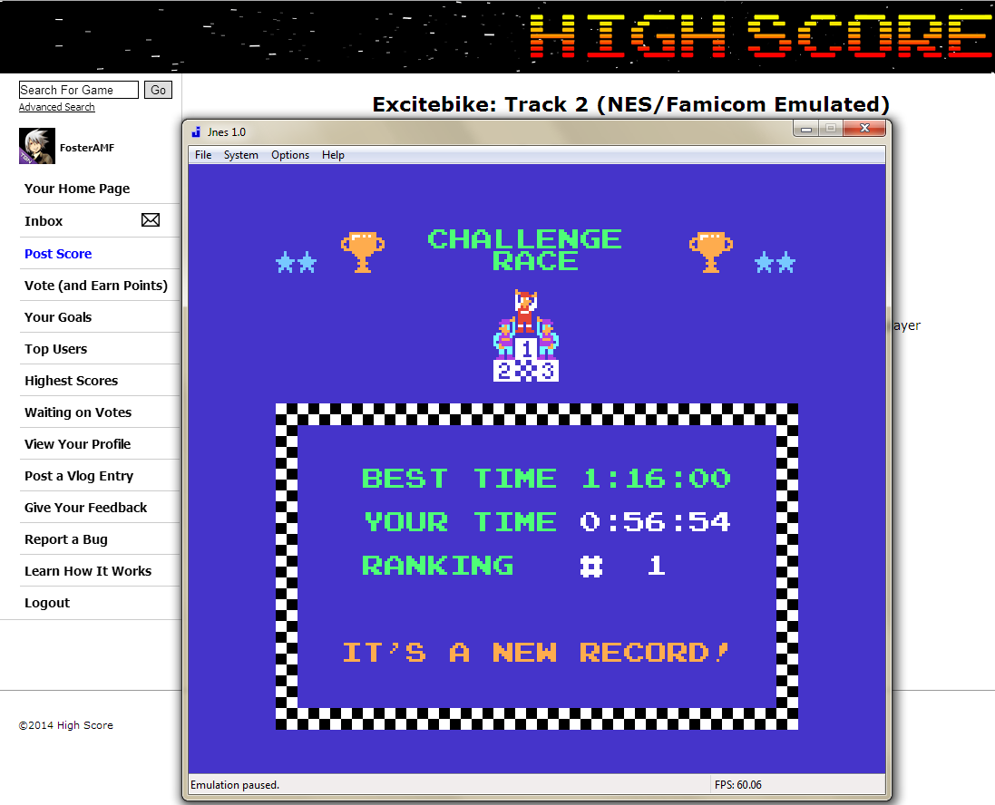FosterAMF: Excitebike: Track 2 (NES/Famicom Emulated) 0:00:56.54 points on 2014-05-24 02:52:16
