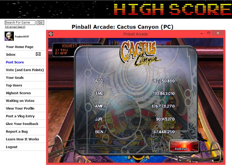 FosterAMF: Pinball Arcade: Cactus Canyon (PC) 126,778,270 points on 2014-05-24 14:29:01