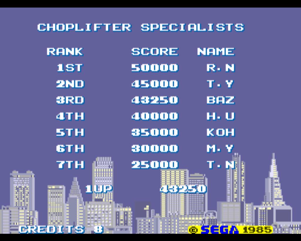 Choplifter 43,250 points