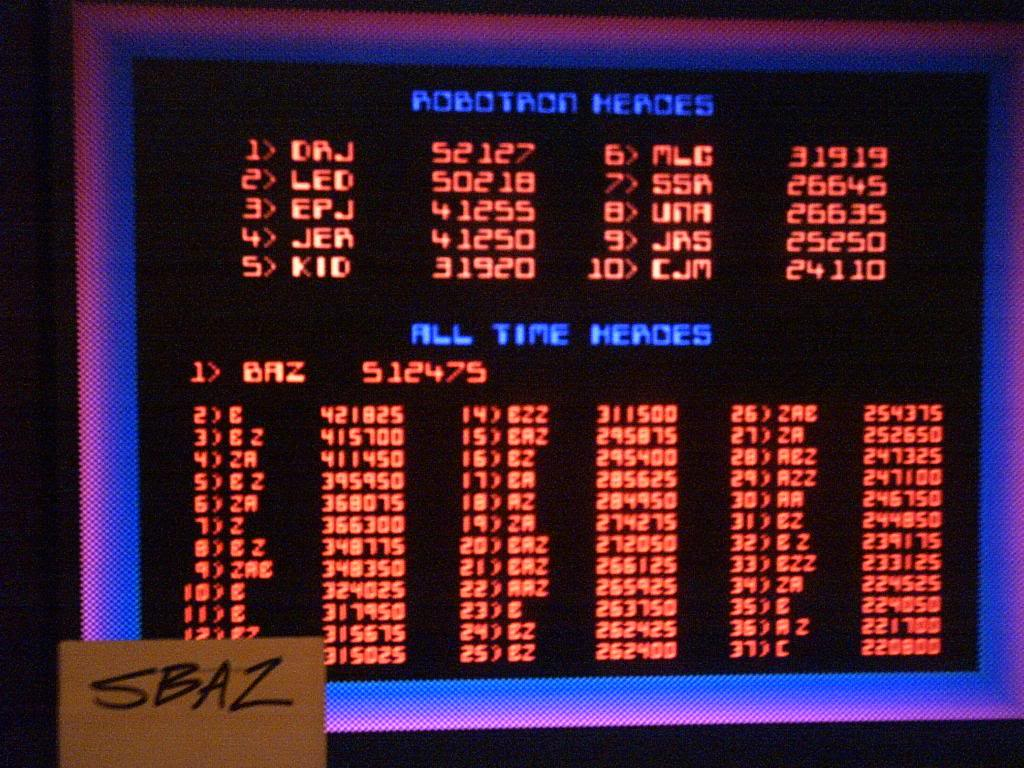 Robotron 2084 512,475 points