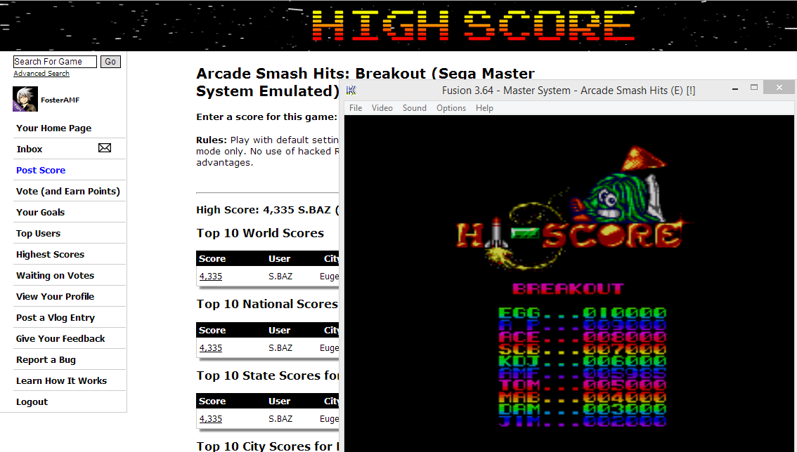 FosterAMF: Arcade Smash Hits: Breakout (Sega Master System Emulated) 5,985 points on 2014-05-25 16:19:51