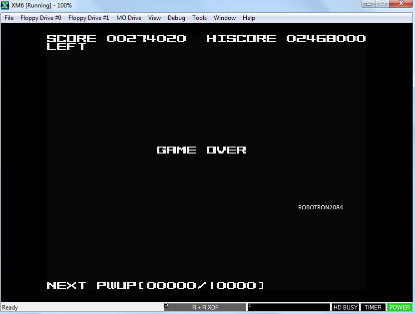 Robotron2084: R+R (Sharp X68000 Emulated) 274,020 points on 2014-05-25 18:24:04