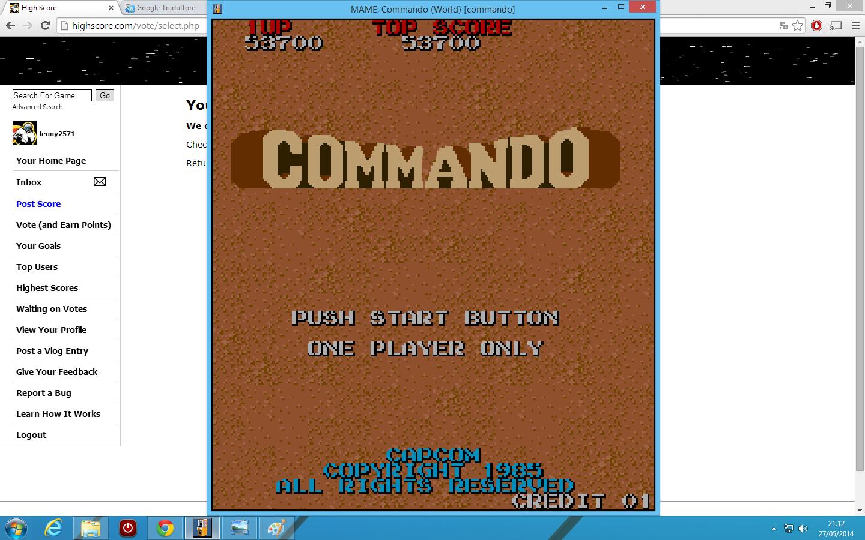 lenny2571: Commando (Arcade Emulated / M.A.M.E.) 53,700 points on 2014-05-27 14:13:11