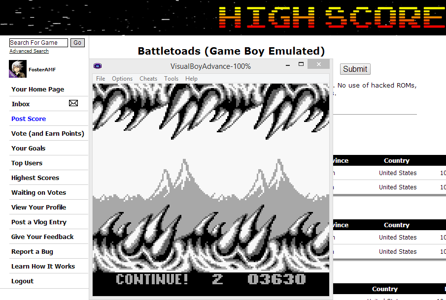 FosterAMF: Battletoads (Game Boy Emulated) 3,630 points on 2014-05-30 15:27:45