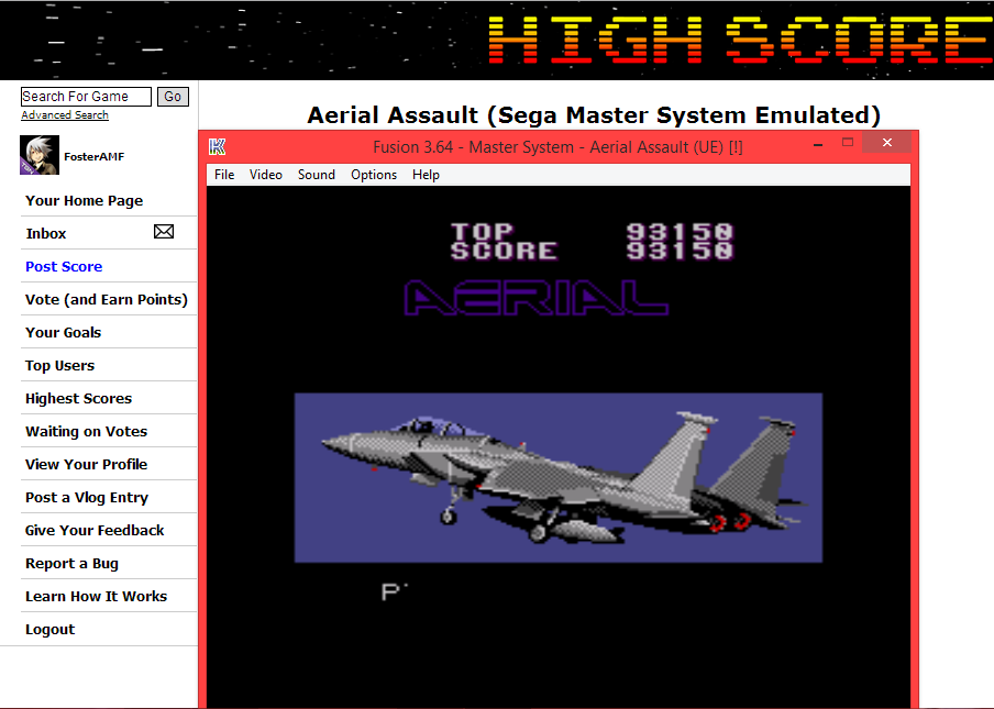 FosterAMF: Aerial Assault (Sega Master System Emulated) 93,150 points on 2014-05-31 02:12:18