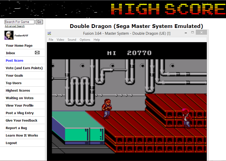FosterAMF: Double Dragon (Sega Master System Emulated) 20,770 points on 2014-05-31 17:43:52