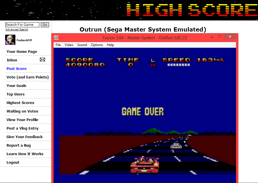 FosterAMF: Outrun (Sega Master System Emulated) 4,090,080 points on 2014-05-31 18:47:32