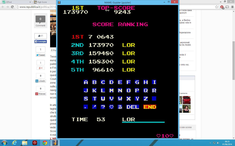lenny2571: Guzzler (Arcade Emulated / M.A.M.E.) 173,970 points on 2014-06-01 11:59:45