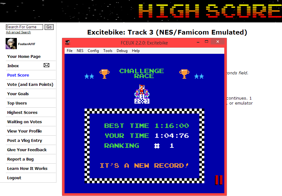 FosterAMF: Excitebike: Track 3 (NES/Famicom Emulated) 0:01:04.76 points on 2014-06-01 15:30:08