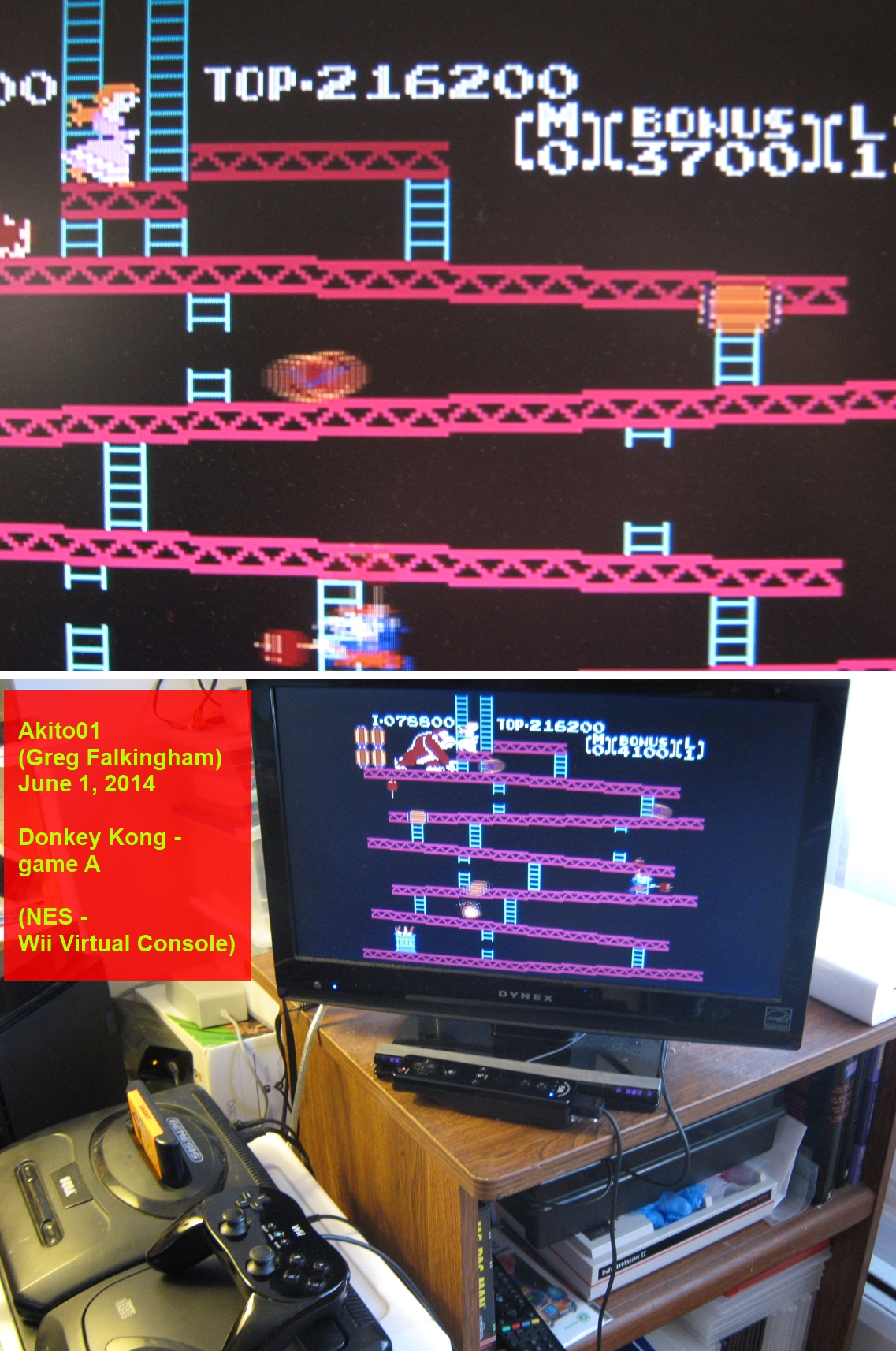 Akito01: Donkey Kong (Wii Virtual Console: NES) 216,200 points on 2014-06-01 17:52:05
