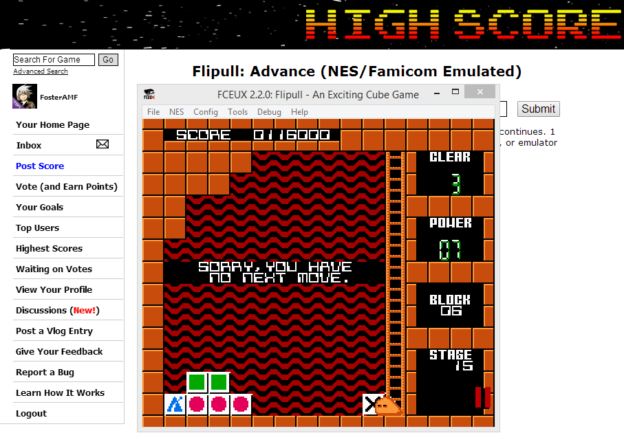 FosterAMF: Flipull: Advance (NES/Famicom Emulated) 116,000 points on 2014-06-02 03:06:49