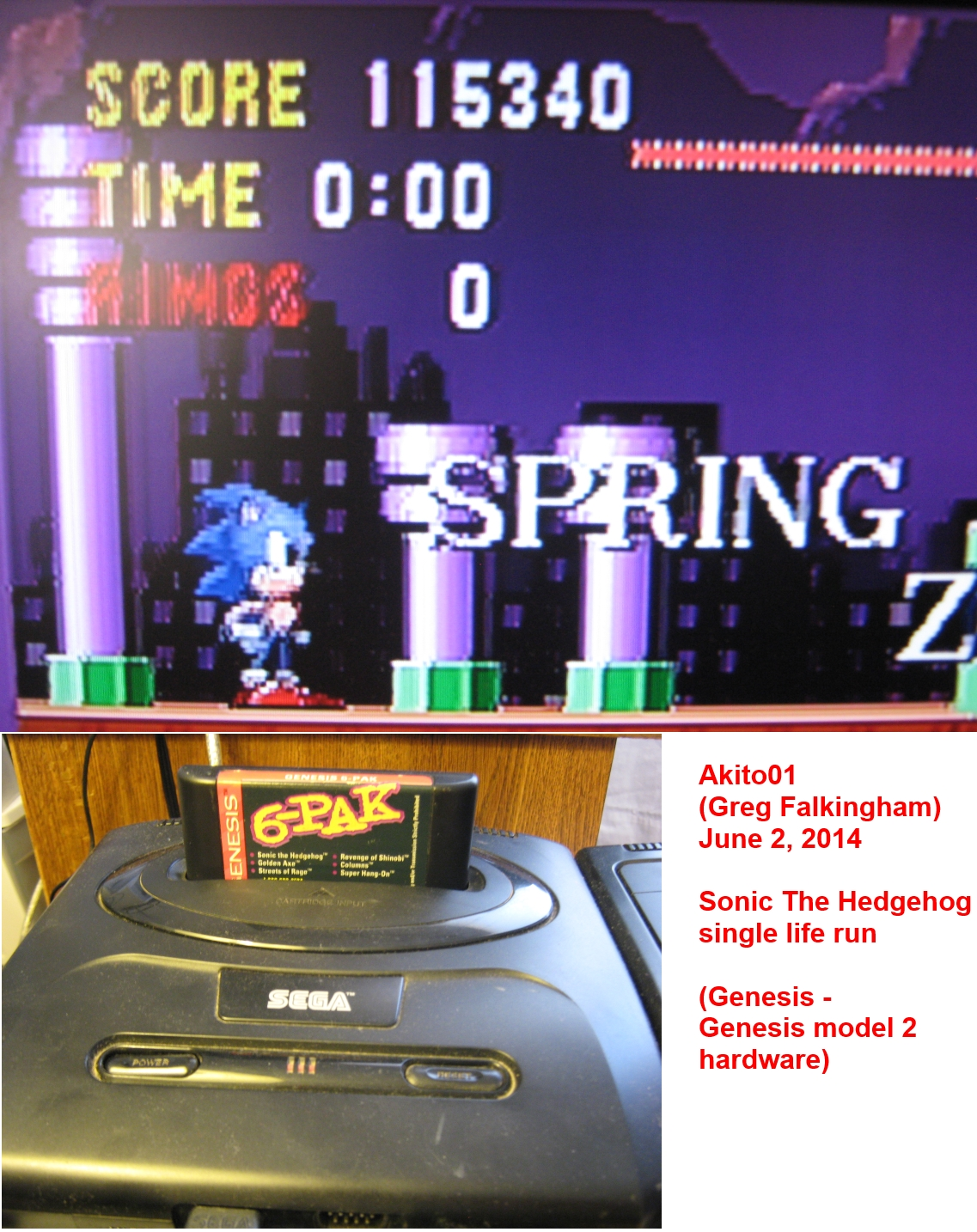 Akito01: Sonic The Hedgehog [One Life Only] (Sega Genesis / MegaDrive) 115,340 points on 2014-06-02 16:18:35